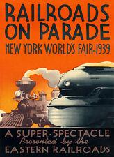 Railroad Train New York World Fair 1939 American Vintage Poster Repro FREE S/H