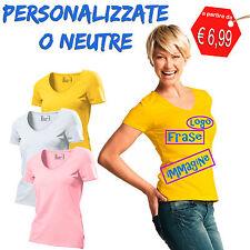 T Shirt Personalizzata Maglietta Donna Scollo a V Rosa Bianca Gialla, alla Moda