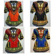 Woman African Dashiki Print Short Dress Top Shirt Elastic Waist Free Size