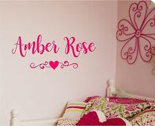 Girls Name & Heart Scroll Vinyl Decal Sticker Lettering Girls Room Decor