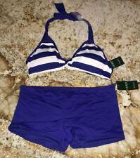 RALPH LAUREN Balboa Stripe Blue White Boy Short Bikini Swim Suit NEW Womens 6