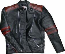 German Wear,Motorradjacke Oldschool Retro Lederjacke Motorrad jacke Schwarz/Rot