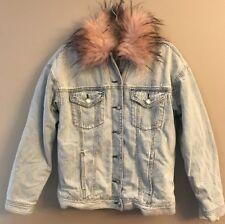 NWT AMERICAN EAGLE Misses Denim Jacket Faux Fur Collar Sz M-L XL Available