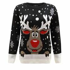 New Ladies Women Men Knitted Reindeer Christmas Snow Flakes  Xmas Jumper Top