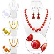 Set Halskette Collier Perlen-Kette Groß Kugel Ohrringe Ohrhänger Damen Kinder