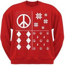 Peace Sign Festive Blocks Ugly Christmas Sweater Red Adult Sweatshirt