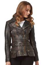 Ladies Fashion Leather Jacket Black Vintage Biker Style 100% REAL LEATHER 2812