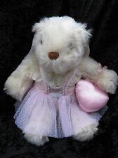 Avon Plush Creme Bear Ballerina Dress Satin Angel Wings Pink Roses Heart ~ Cute!