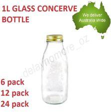 1L 1000ML Clear Glass Sauce Bottles Milk Jar Conserve Bottle Water Jars Jam NEW