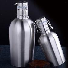 Swing Top Hip Flask Stainless Steel Home Brew Beer Growler Bottle Jar 1L/2L