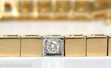 █$4000 VIDEO .40CT DIAMOND GOLD SHINE PAVE BOX BRACELET 14KT UNIQUE 7 INCH