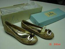 NIB NWT Womens Solos Flats Sand Snakeskin Buckle Trendy Style Fashion Shoes