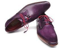 Paul Parkman Men's Ghillie Lacing Side Handsewn Dress Shoes - Purple Leather Upp