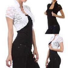 Short Sleeve Full Floral Lace Ruffled Shrug Smocking Bolero Spandex S-3XL