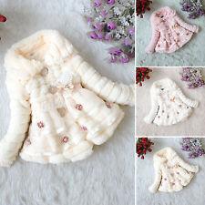 Baby Warmer Winter Kids Girls Princess Faux Fur Fleece Jacket Coat Outwaer 1-9Y