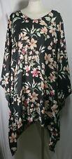 Plus size poncho style top/tunic, beautiful floral pattern, black,1X-2X,3X-4X