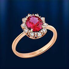 Russische Rose Rotgold 585 Halo RING mit Oval Rubin und CZs Neu Glänzend