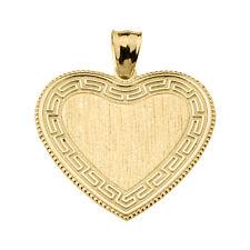 Solid Yellow Gold Greek Key Gold Engravable Heart Pendant