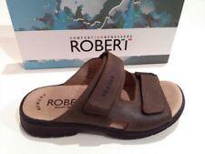 ROBERT 03010 marrone ciabatte sandali uomo strappi pelle 100% italia casual .,: