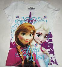 Disney Frozen Elsa Anna T-Shirt Shirt White Gray Purple Girls