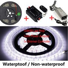 5M White 5630 LED Strip Flexible Light +Dimmer Controller +5A 12V Power Adapter