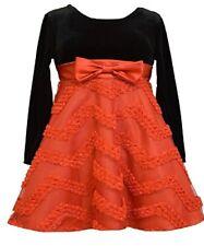 Bonnie Jean Little Girl Black Velvet Rosette Stripe Holiday Party Dress 2T - 6X