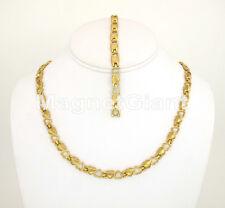 24k Gold Heart Women Magnetic Stainless Steel Link Necklece Bracelet Set 316L