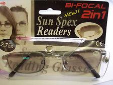 NUOVO IMBALLATO 2in1 BIFOCAL Occhiali da sole da lettura +2.75 D (4E)
