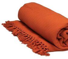 Orange Honeycomb WAFFLE 100% Cotton SOFA / SETTEE / BED Throw + Tasselled Edging