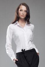 Chemise femme blanche manches longues mode NIFE K35 coton mélangé