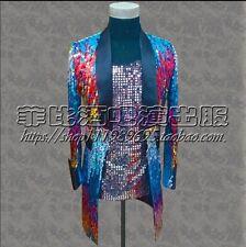 Mens Sequin Colorful Bling Suit Tuxedo Blazer Bar Show Coat Jacket Dress Stage