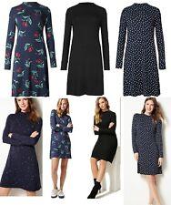 Ladies M&S Jersey Swing Dress Print Polka Dot Vintage Tea Shift Tunic Size 6-24