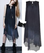 Robe gothique lolita fashion bohème voilage asymétrique perles été Punkrave bleu