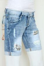 NEWPLAY Damen Jeans Hose Stretch Kurz Shorts Capri Blau Knopfleiste XS-XL