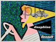 REPRO DECO AFFICHE RENAULT DAUPHINE SUR PANNEAU MURAL BOIS HDF