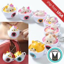 Latte Kitten Neko Cat Coffee Flavor Cup Ball Chain Mascot Charm Keychain Strap