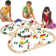 130 Teile über 5m Schienen Holzeisenbahn Set Holz Eisenbahn Schienen Holzzug NEU