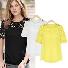 HOT Women New Hollow Round Neck Lace Short Sleeve Chiffon Blouse Top T-shirt -JJ