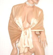 STOLA MAXI BEIGE coprispalle 30% SETA foulard elegante scialle da cerimonia E85