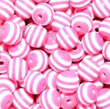 30pcs / 100pcs pink striped round resin beads  8mm