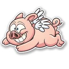 2 x Flying Pig Sticker Car Bike iPad Laptop Decal Funny Joke Animal Gift #4197