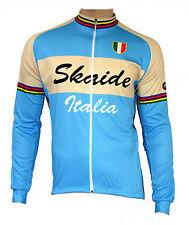 Radtrikot Skaide Italia Retro Azzurro Creme langarm (auch Übergrößen bis 6XL)