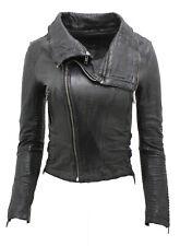 Ladies Short Retro Black Removable Zip Neck Leather Biker Jacket