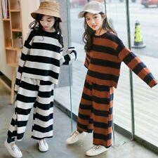 2x Girls Striped Sportwear Two Tone Top + Pants Wide Leg Trouser Kid Fashion Set