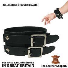 Neuf Noir Bracelet De Poignet En Cuir UK Mode Handmade R_glable