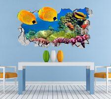 3D Oceano Pesci Coralli Parete Murales Adesivi Decal Sfondamento AJ WALLPAPER IT