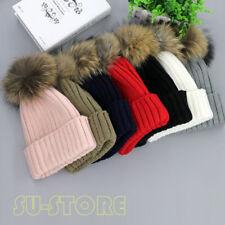 Real Large Raccoon Fur Pom Pom Women Girls Winter Knit Beanie Bobble Ski Hat SUT
