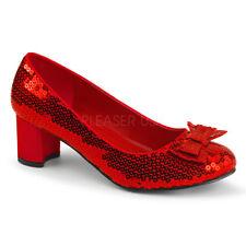 """Women's 2"""" Low Heel Dorothy Oz Red Sequin Pumps Halloween Costume Shoes"""