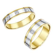 El Y Ella Alianzas 18 Ct Dos Colores Diamante 4 Y 6mm Bandas