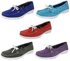 Femme Neuf en cuir et daim Annabelle pont bateau Casual Formelle Chaussures Confort UK 3 - 8